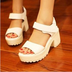 d2545596223 Online Shop Free shipping fashion platform sandals 2014 new ladies punk  shoes pumps chunky high heels belt buckle white casual shoes