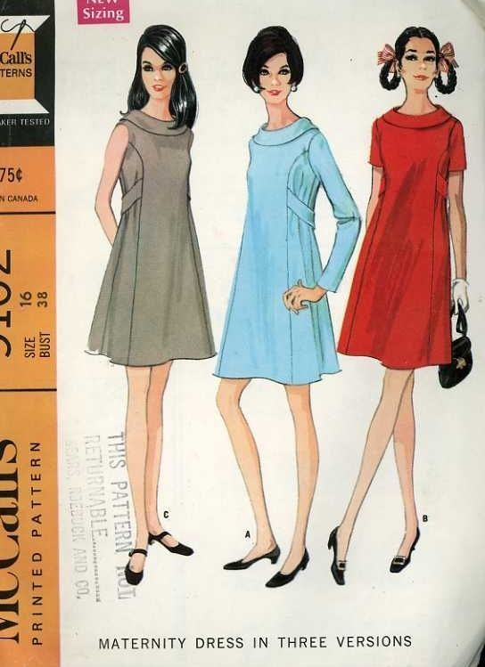 3a24cec68ff0d 1960s McCalls 9102 Pattern Retro Maternity Dress w/styling options Ex/VGC B  38…