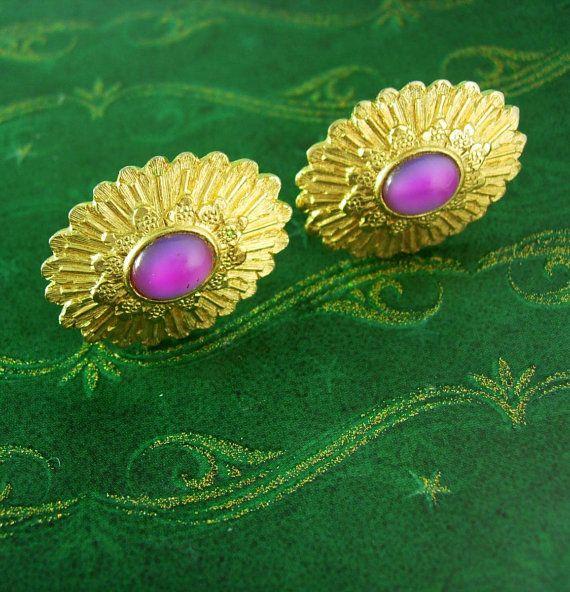 Vintage Pink faux opal cufflinks haunted moonstone gold cufflinks unisex womens mens jewelry
