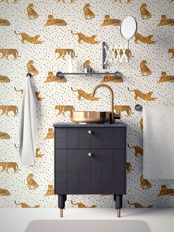Tropical Removable Wallpaper. Tiger Wallpaper. Modern