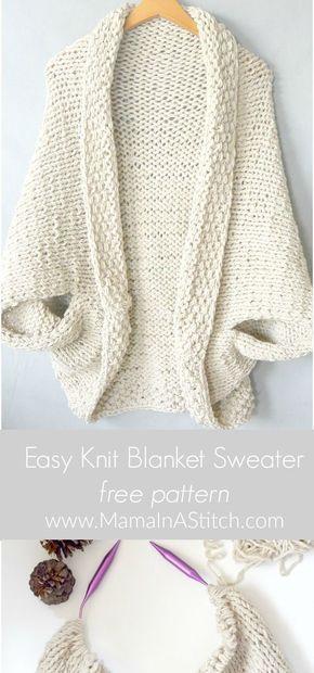 Easy Knit Blanket Sweater Pattern | Patrón gratis, Manta y Chaquetas