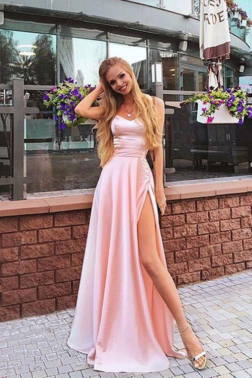 Elegant A Line Sweetheart Spaghetti Straps Chiffon Slit Pink Long Prom Dresses JS108