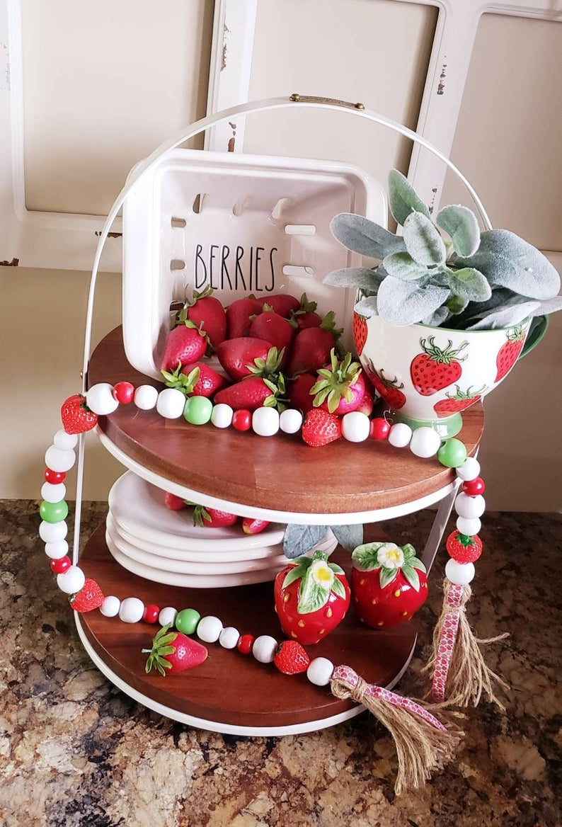 Strawberry Garland Etsy In 2021 Tiered Tray Decor Gingerbread Christmas Kitchen