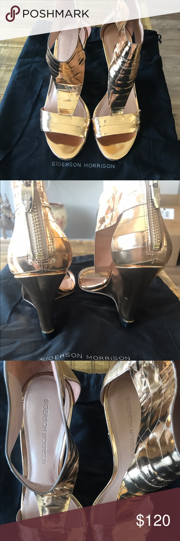 Never wear Sigerson Morrison, metallic gold, wedge sandal Sigerson Morrison Shoes Sandals