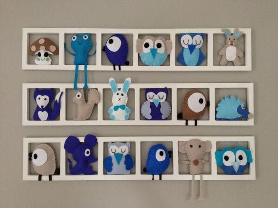 Deco chambre bébé décoration muralefigurines bleu beige cadeau de naissance personnalisé sur mesure