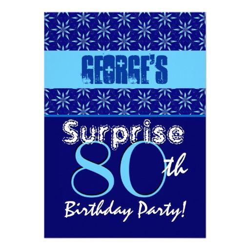 Surprise 80th birthday blue stars w1431 card 80 birthday 80th birthdays surprise 80th birthday blue stars w1431 personalized invitation stopboris Images
