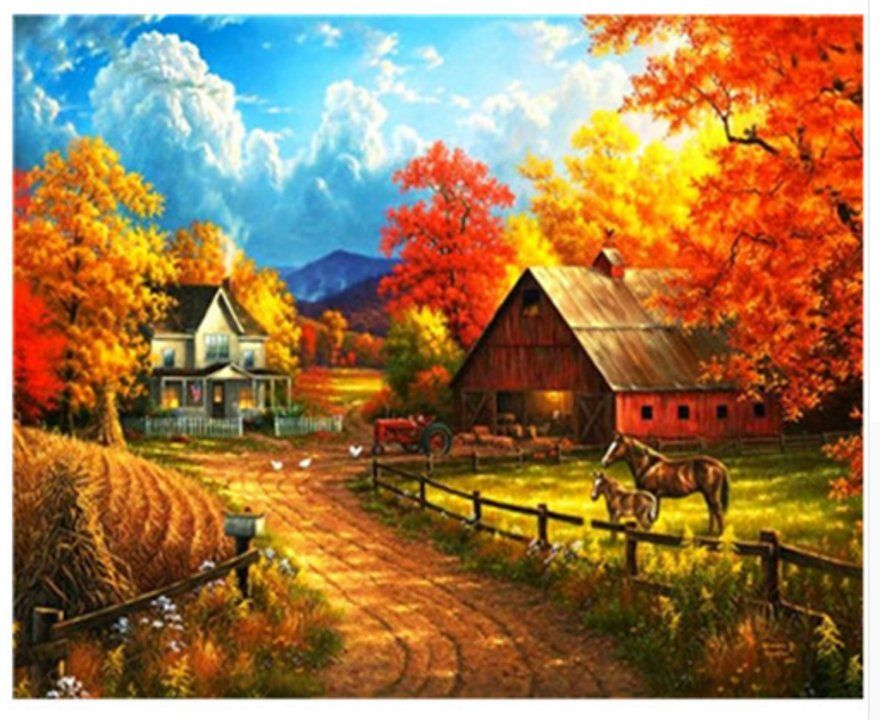 Horse Farm House Paint by Number Kit, Fall Landscape DIY Painting