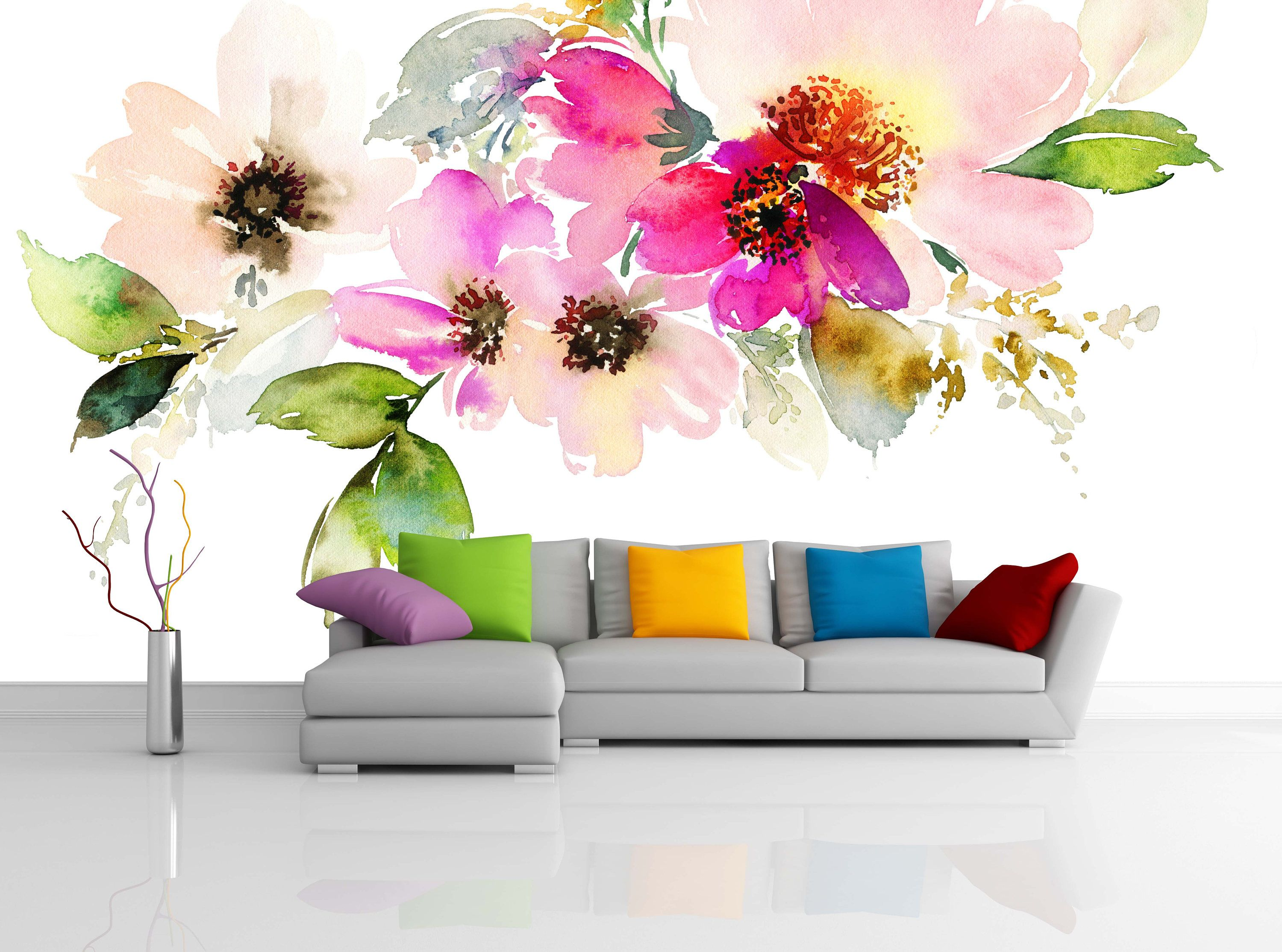 Removable Wallpaper Mural Peel Stick Flowers Watercolor Illustration By Uniqstiq On Etsy Floral Wallpaper Bedroom Mural Wallpaper Decor