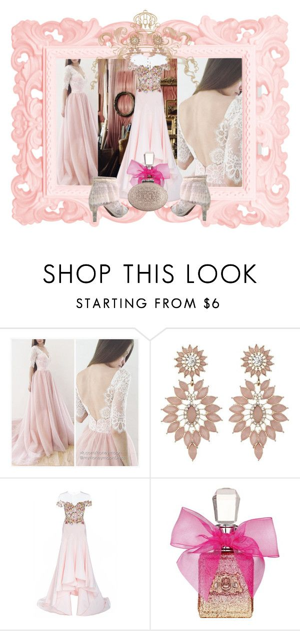 """""""Untitled #6092"""" by snowmoon ❤ liked on Polyvore featuring Bellagio, Charlotte Russe, Monique Lhuillier, Juicy Couture and Christian Louboutin"""