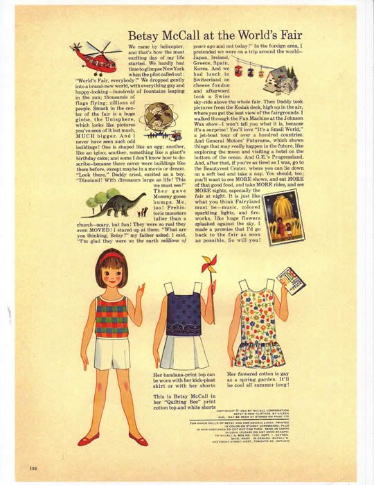 I loved when Mother's McCall's Magazine arrived so I could get the new Betsy McCall paper and outfits.