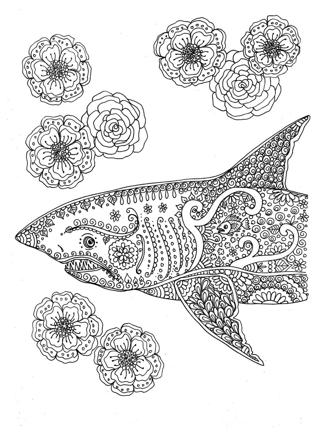 Instant Download Coloring Page Shark Adult You Be The Artist By ChubbyMermaid On Etsy