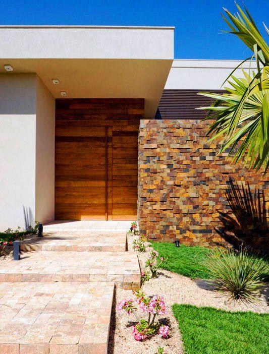 Fachadas modernas com pedra ferro casa sonho pinterest for Casas contemporaneas rusticas