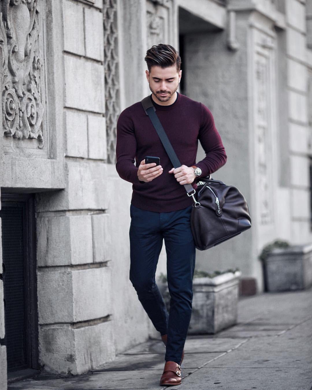 Alex Costa. Blue chinos- double monk straps shoes _ chocolate red long  sleeve t-shirt