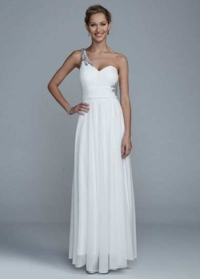 Long One Shoulder Mesh Dress with Open Back Detail - Wedding Dresses by DB Studio - Loverly