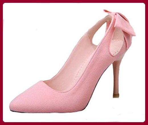 Aisun Damen Elegant Troddel Nubukleder Pointed Toe Stiletto Pumps Pink 37 EU elMebNY