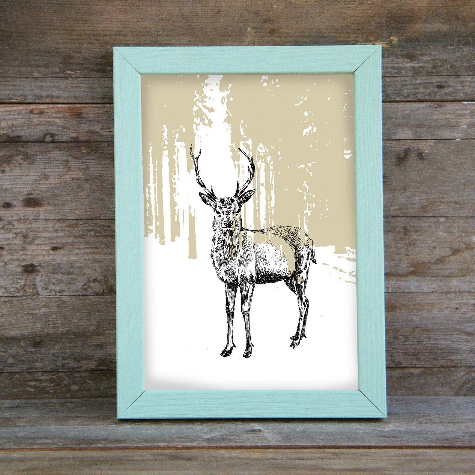 Deer wall art modern deer poster woodland animals printable cabin