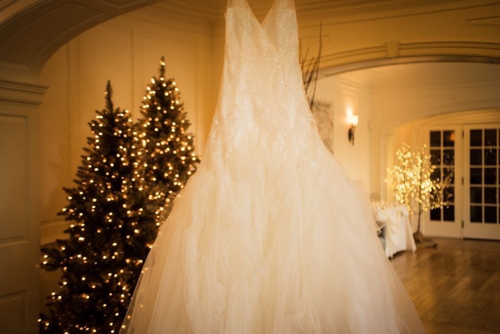 Winter wedding dress hanging in the lobby of the French Creek Golf Club, in West Chester, Pa