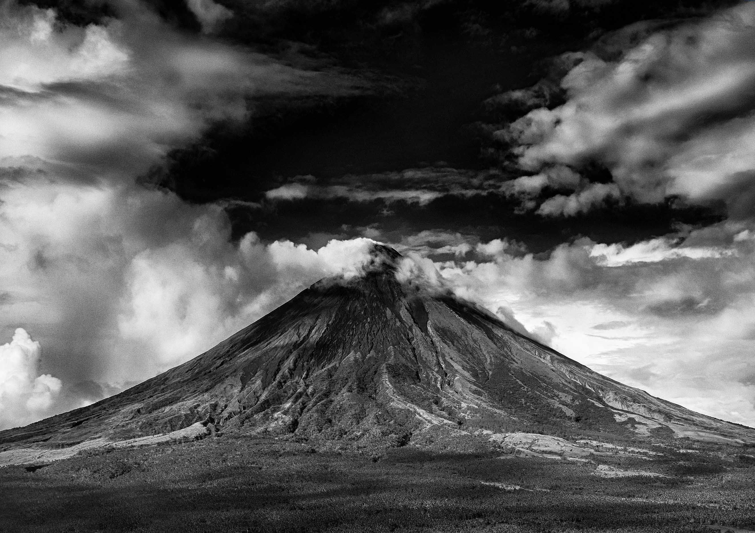Volcano black and white photography print