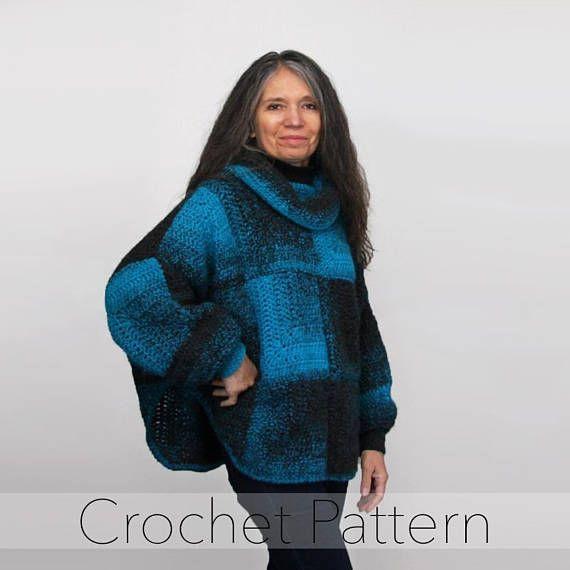 Crochet PATTERN Poncho / Poncho Sweater / Swoncho / Sleeved Poncho ...