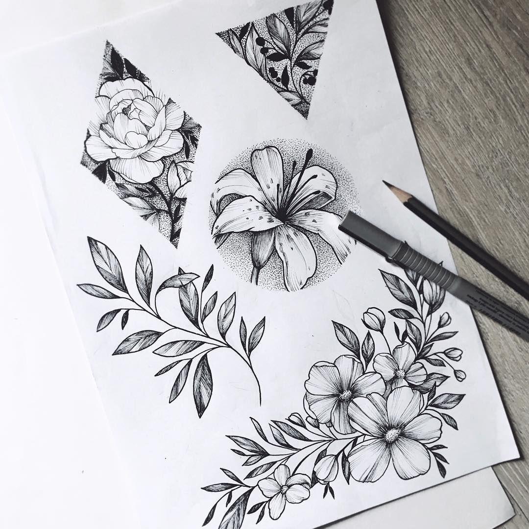 Bottom Right Cluster Flores Lineales Pinterest Tatuajes Arte