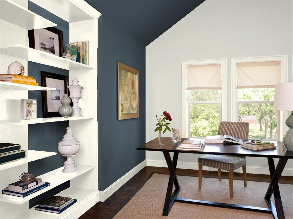 Virtual Paint Your Room App With Blue Note On One Wall And Gray
