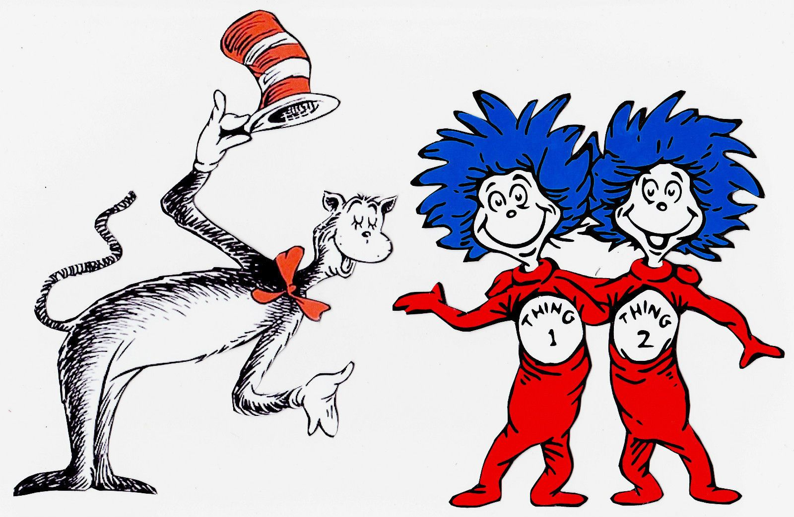 """cat in the hat with thing 1 and thing 2 10"""" DR SEUSS CAT"""