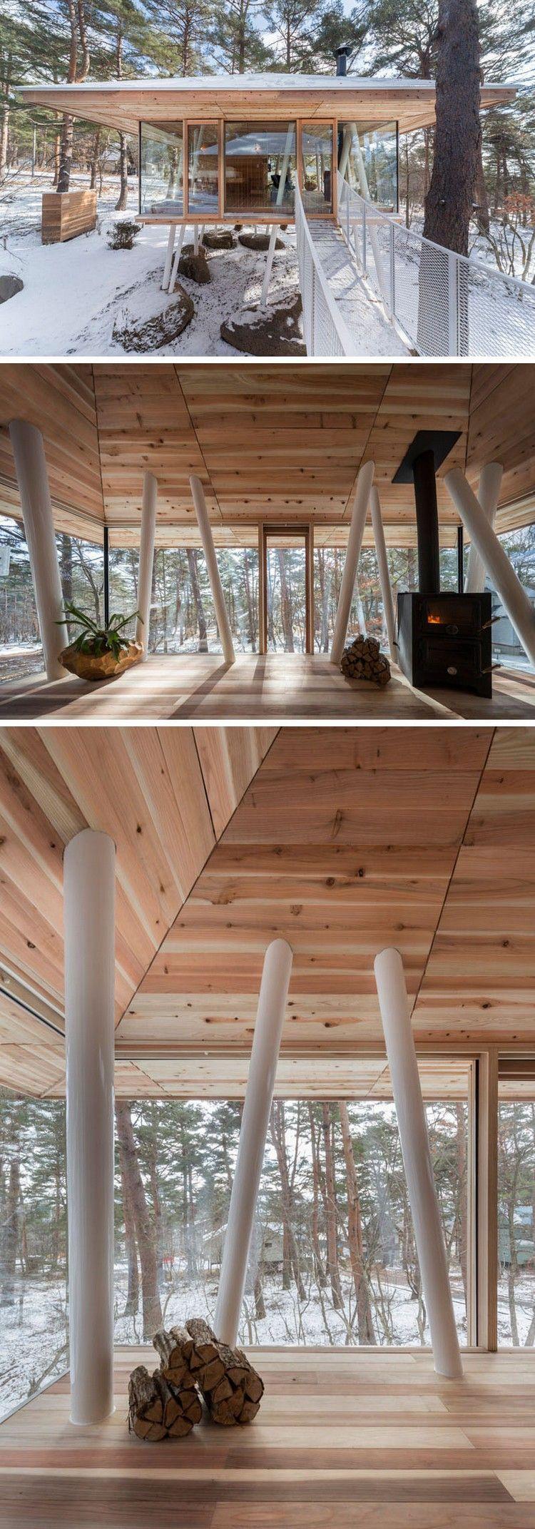 ferienhaus auf stelzen besteht aus zwei separaten bauten einem f r den wohnraum und einem f r. Black Bedroom Furniture Sets. Home Design Ideas