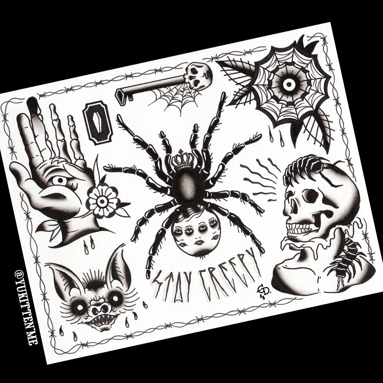 Halloween Tattoo Flash Print 11 X 14 Inches Halloween Tattoo Flash Traditional Tattoo Black And White Traditional Tattoo Flash