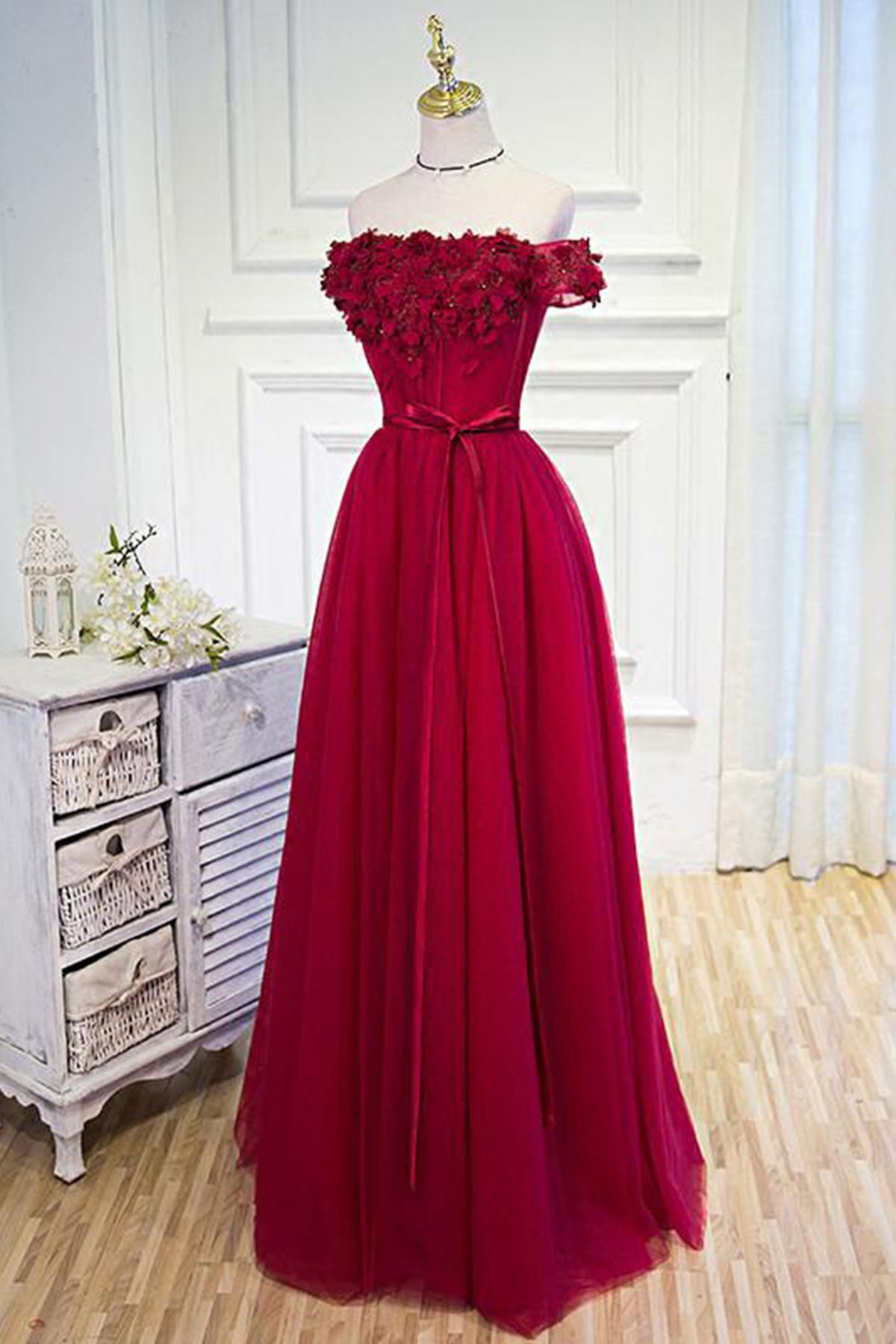 Elegant off shoulder prom dress hot pink chiffon prom dress ball