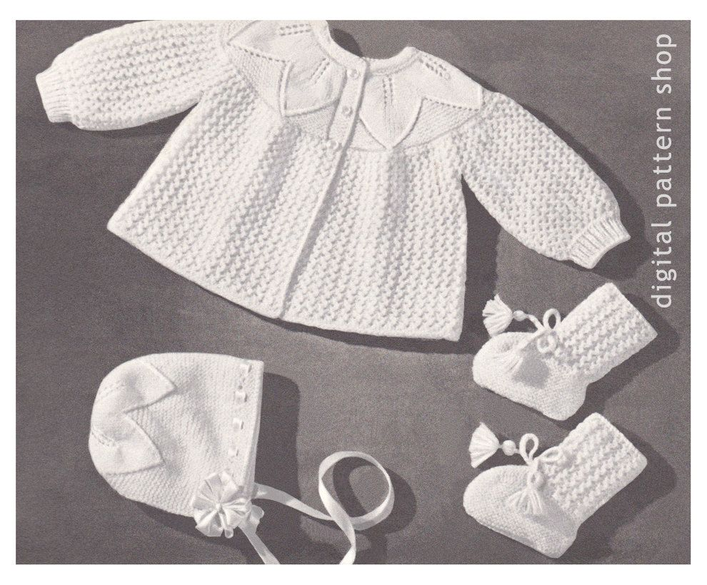 Patterns Kid Vintage Baby Knitting Pattern Sweater Bonnet Booties ...
