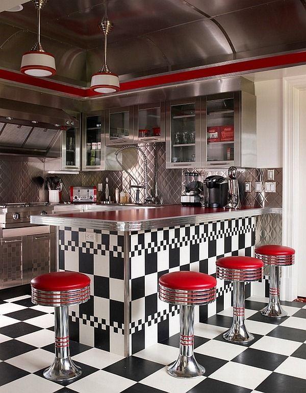 cuisine r tro clectique avec blacka e carreaux blancs espaces de la maison cuisines r tro. Black Bedroom Furniture Sets. Home Design Ideas