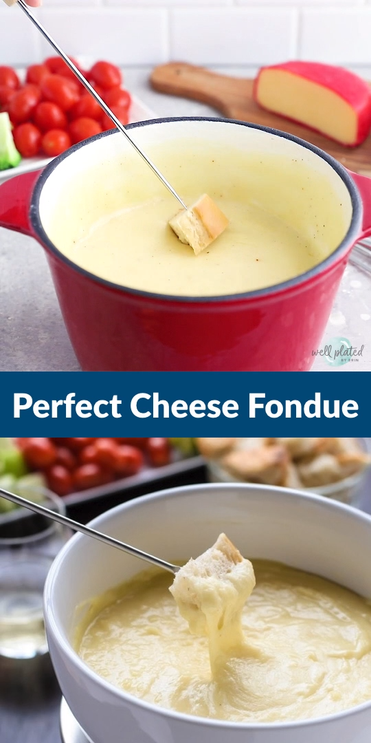 Cheese Fondue #fonduerecipes Easy Cheese Fondue! A classic cheese fondue recipe, what to use for fondue dippers, and how to make the perfect cheese fondue every time. Includes Swiss cheese fondue with gruyere, beer cheese fondue with cheddar, and a non-alcoholic fondue option. #cheesefondue #wellplated #recipe #easy via @wellplated #fonduecheese