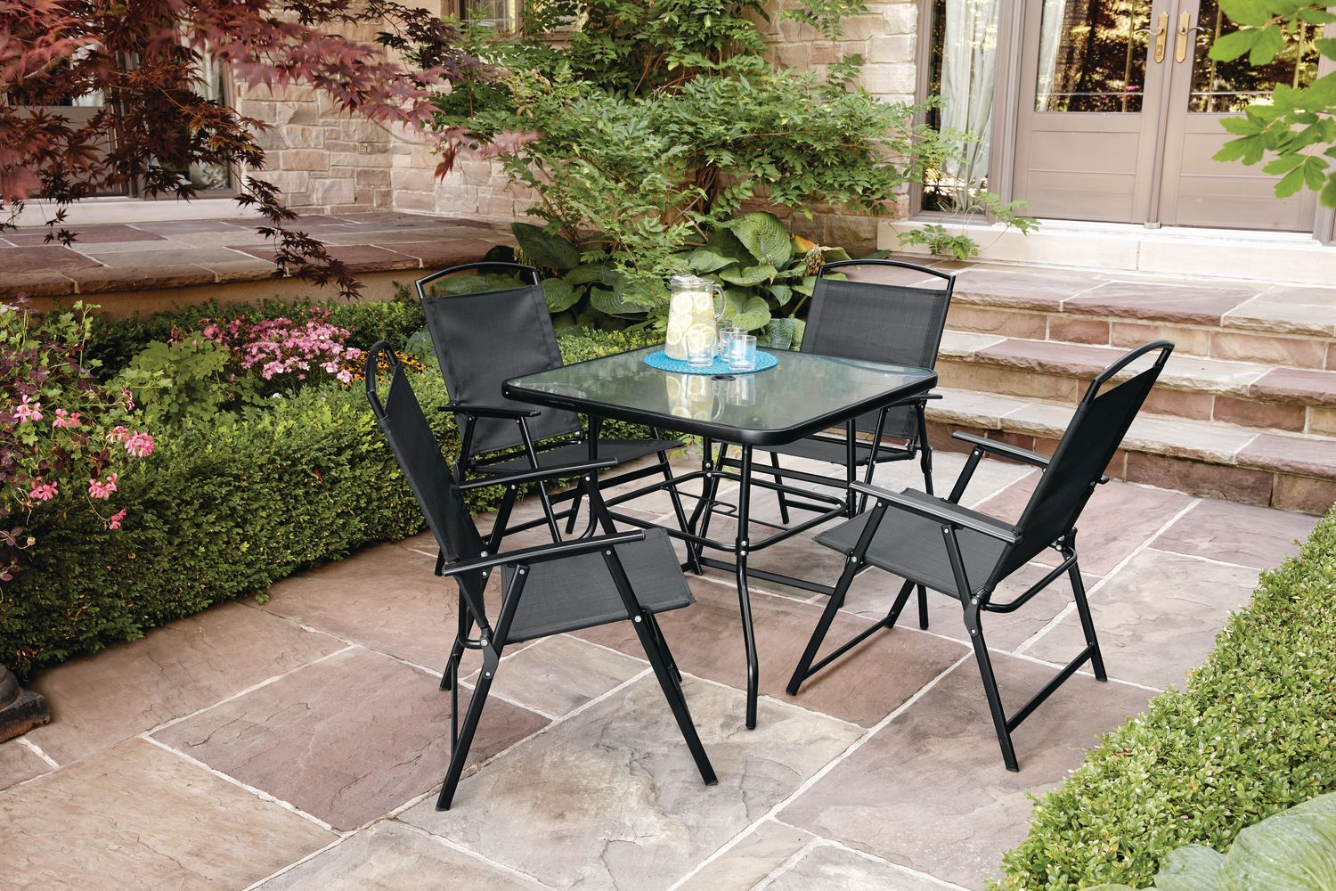 Mainstays Cranston 5 Piece Folding Dining Set For Balcony Dining
