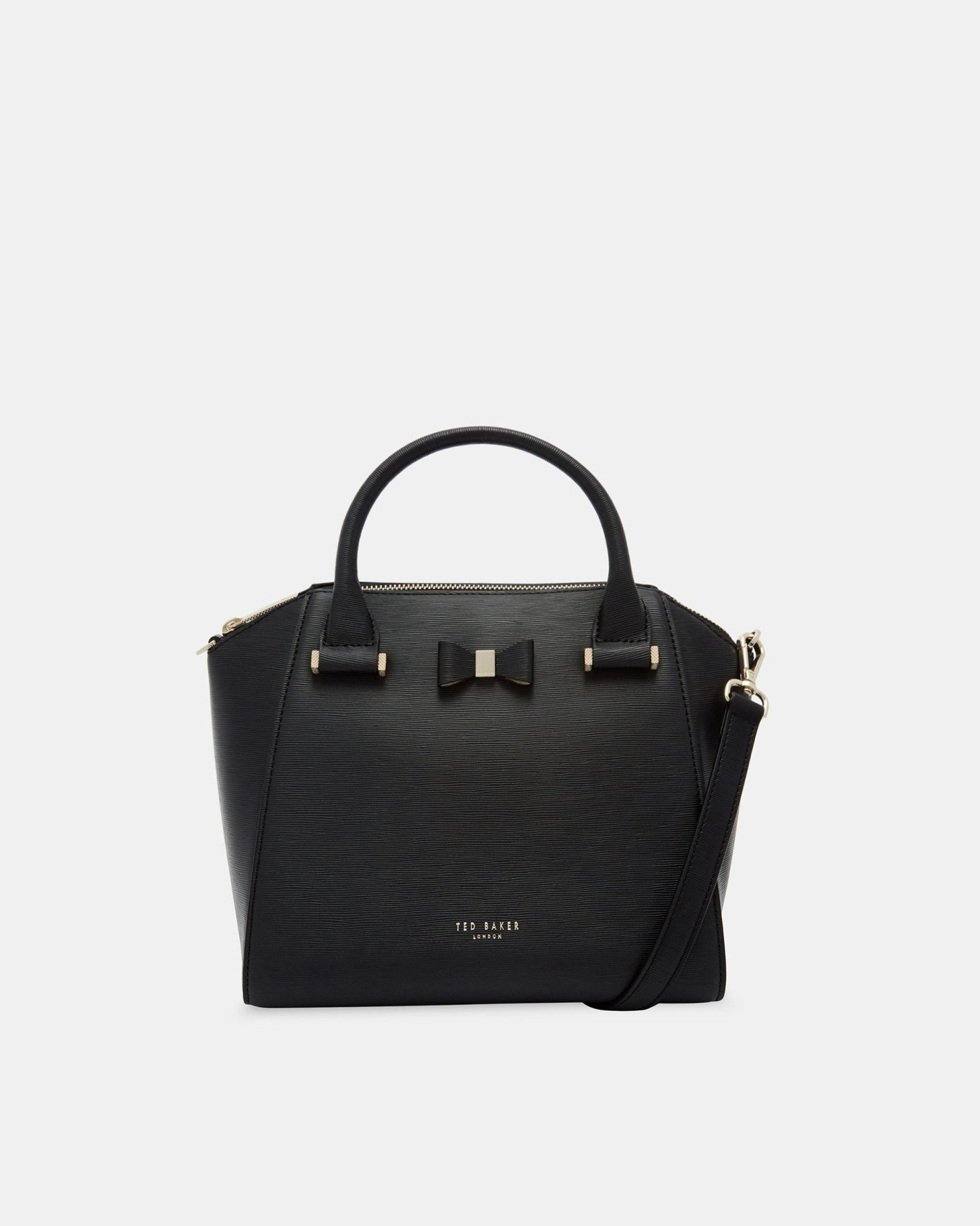e0fdd3932e1ae Bow Detail Small Leather Tote Bag | Products in 2019 | Black leather ...