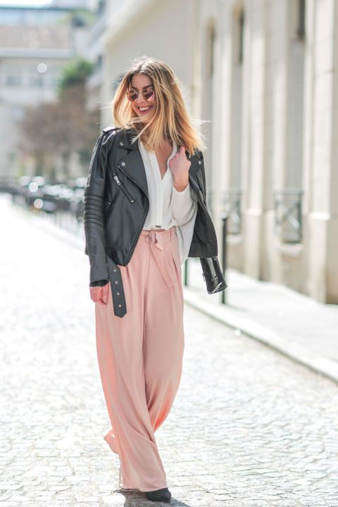 Think pastels are only for spring? Not so. Toughen up blush tones with the help of a leather moto jacket.