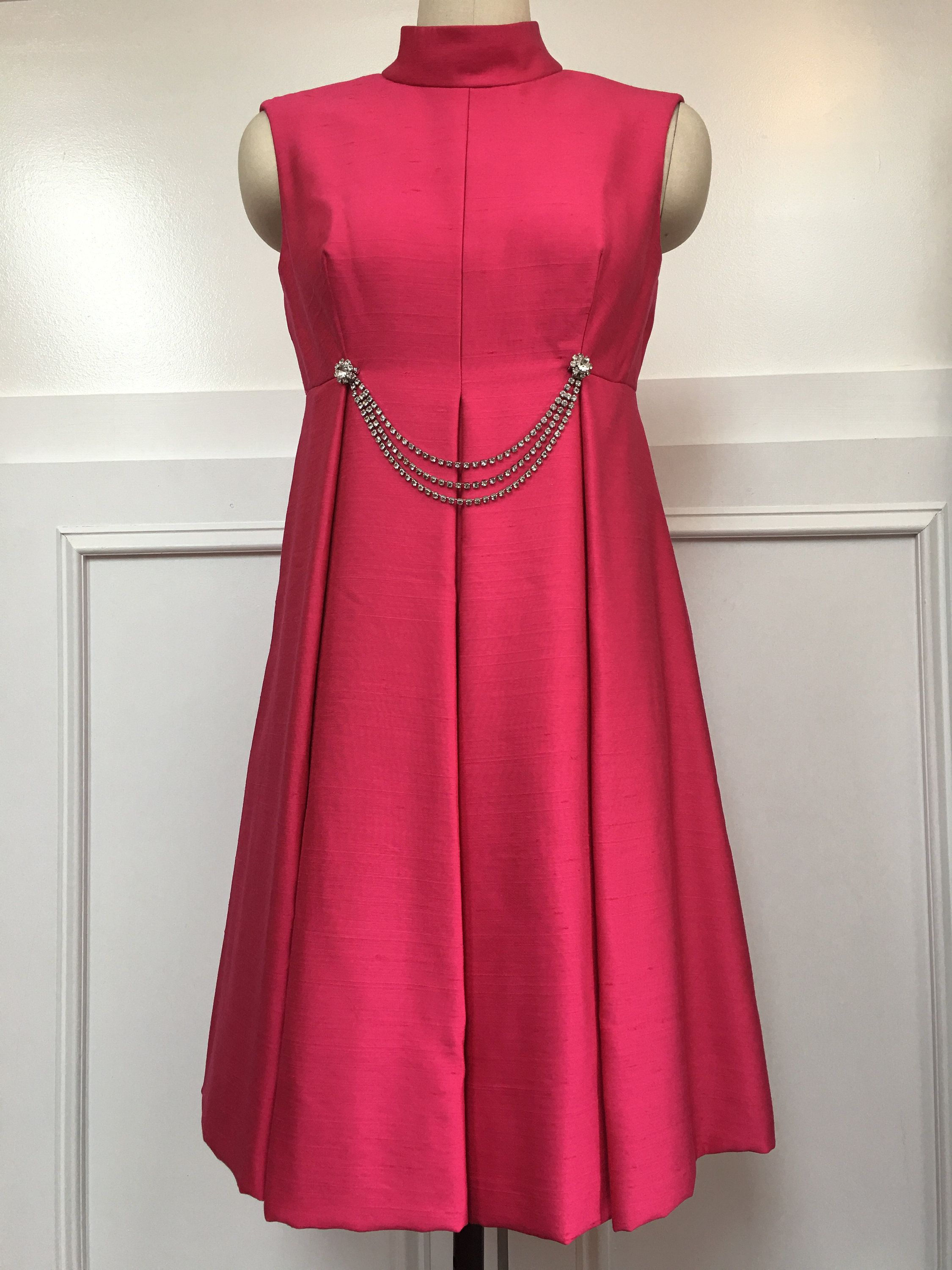 S mod shocking pink cocktail dress with rhinestone detailing