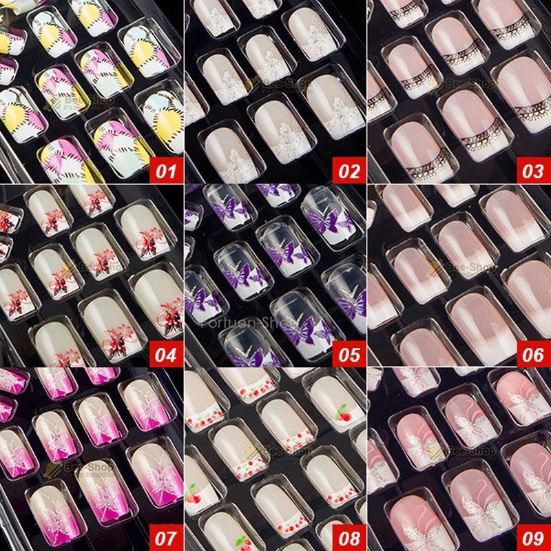 27 Style Options 24pcs Per Set Acrylic Full Cover Nail Tips False