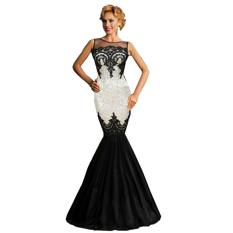 2016 Top Fashion Sale Robe Sequin Applique Elegant Mermaid Dress