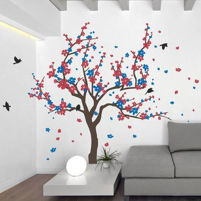 """The Decal Guru Japanese Cherry Tree Wall Decal Size: 60"""" H x 90"""" W x 0.01"""" D, Color: Brown/Red/Blue"""