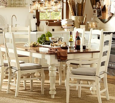 Keaton Extending Dining Table In French White From Pottery Barn Love This Large Farmhouse Style Table Farmhouse