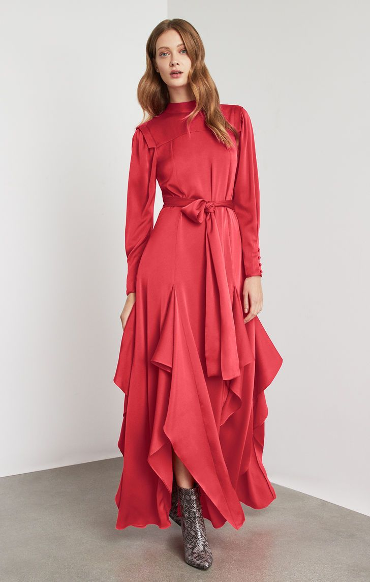 Draped ruffle maxi dress stylish in pinterest dresses