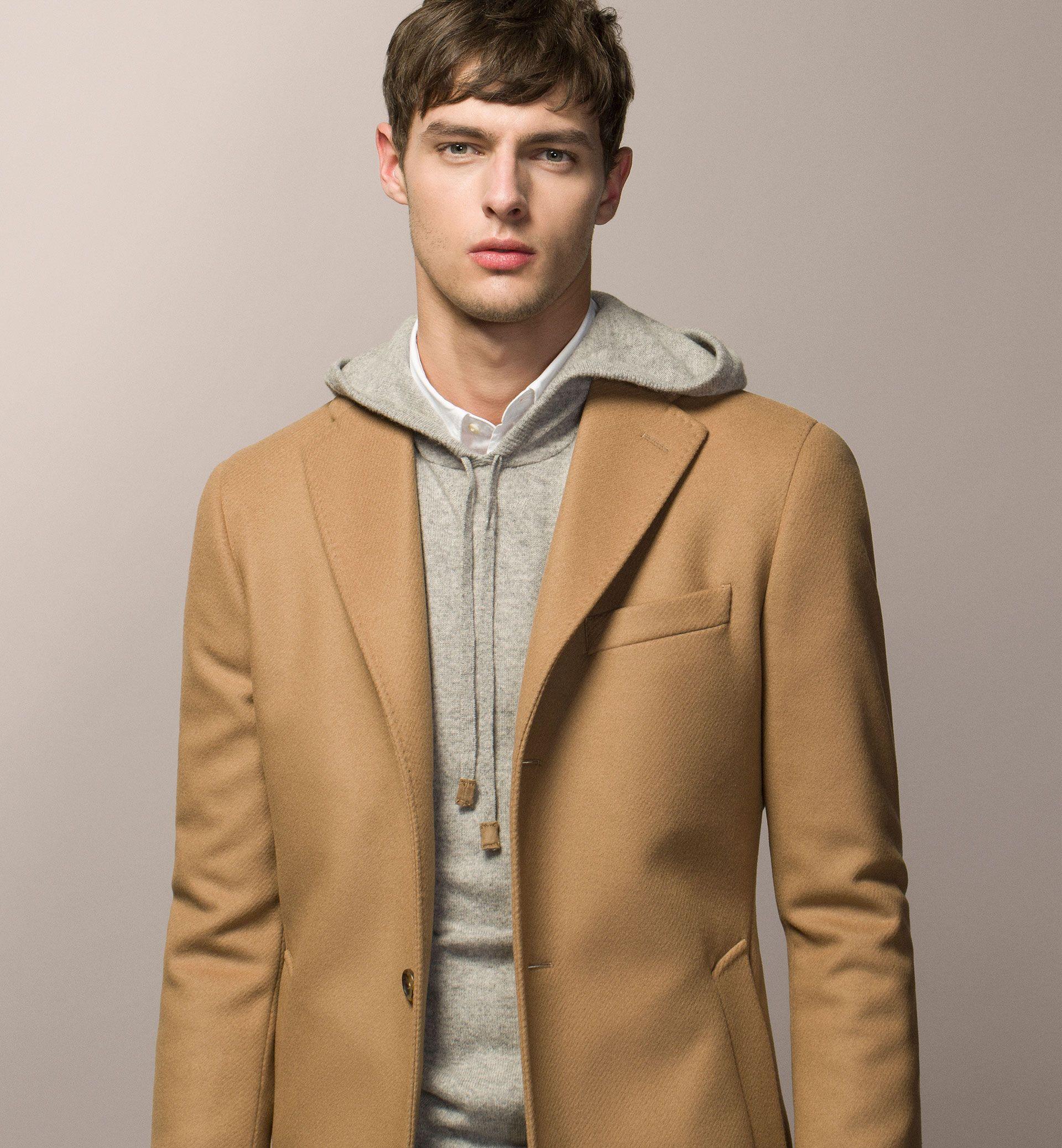 Mens jacket camel - Wool Cashmere Twill Coat