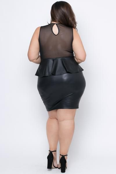 Plus Size Faux Leather Peplum Dress Black Mujercitas Pinterest