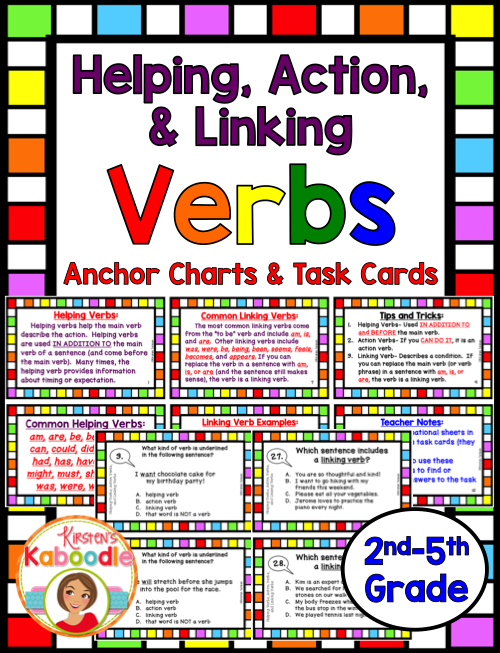 Helping And Linking Verbs Task Cards And Anchor Charts Pinterest