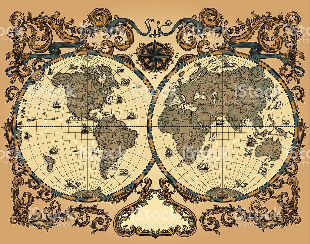 Antique world map in vector decorated with patterns and old world map in vintage style royalty free stock vector art gumiabroncs Gallery