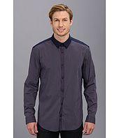 Elie Tahari Steve Shirt Mini Check w/ Solid Yoke JN00W503 Best