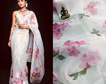 Photo of Pure organza saree with beautiful print / sarees / saree for women/ indian saree/ designer saree / wedding saree /saree blouse/ saree