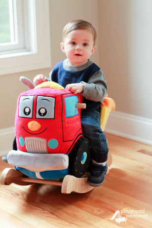 Little boy on his new Dumpee The Truck rocker! #toys