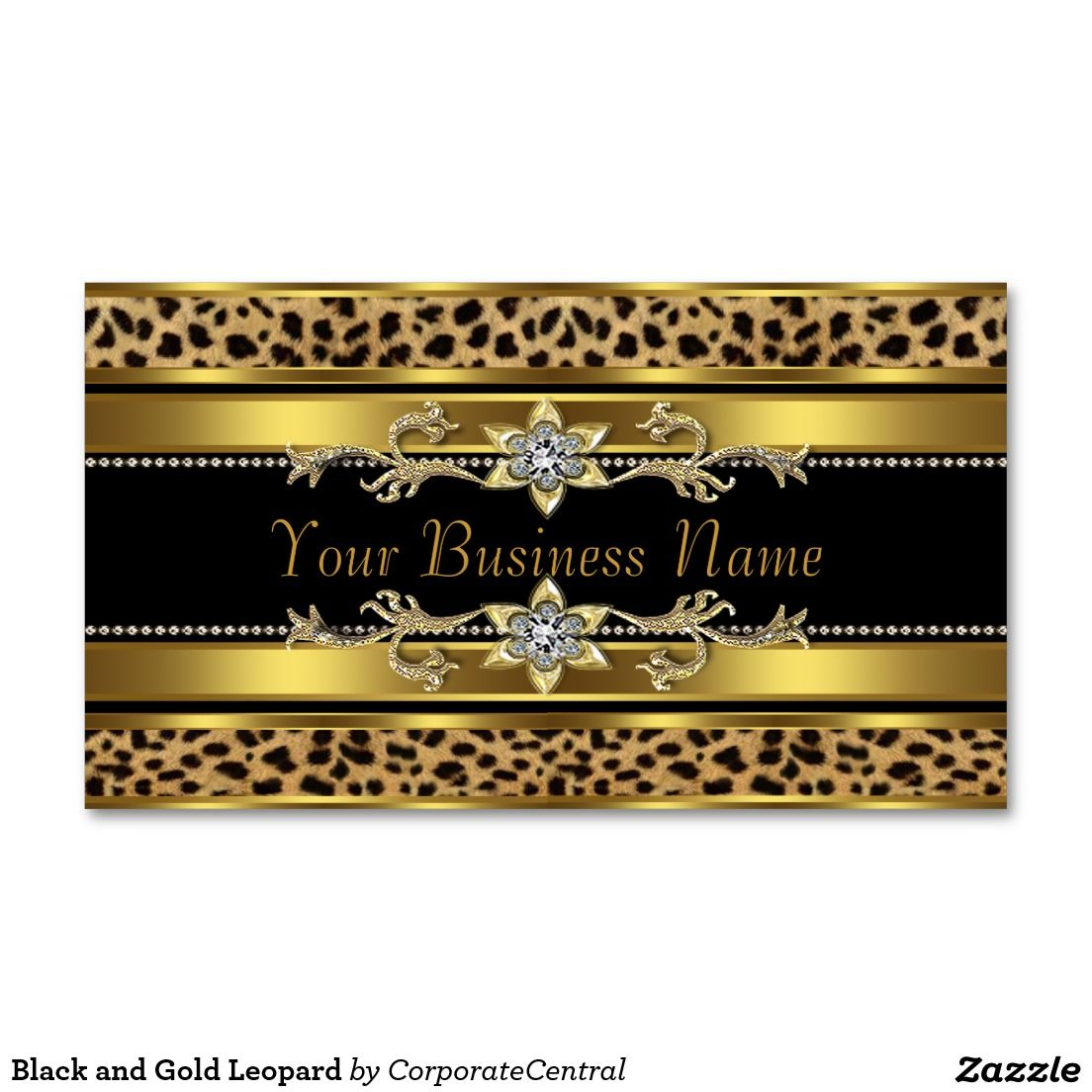 Black and Gold Leopard Business Card | Business cards, Business and ...