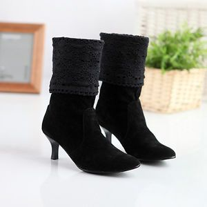 2b520cfeb4a Details about Winter Fashion Women's Wedge Heel Mid-Calf Bowknot ...